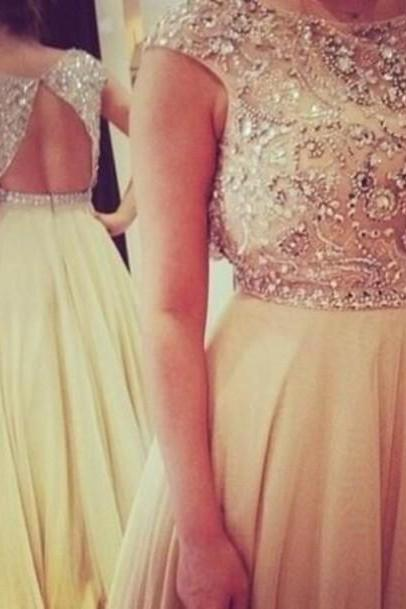 Chiffon Beaded Bodice Sleeveless Prom Dresses Beading Evening Dresses